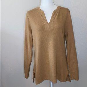 Lands' End Tan Tunic Long Sweater size L